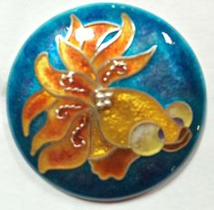 Cloisonne Fish Studio Button by Karen L. Cohen