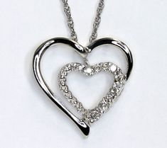 239a82ffa Diamond double hearts pendant necklace white gold round brilliant .12C 14K  chain Infinity Necklace,