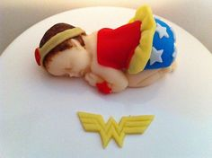 Super Hero Inspired Fondant Baby Wonder Woman by FondantFads, $14.00 this is too freaking cute!!!!
