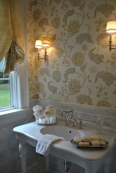 The Enchanted Home:-wallpaper with silk gingham drapes. Like flowers & soaps💛✨ Bathroom Vanity Store, Sweet Home, Enchanted Home, Home Wallpaper, Window Coverings, Decoration, My Dream Home, Interior Design, Bath Ideas