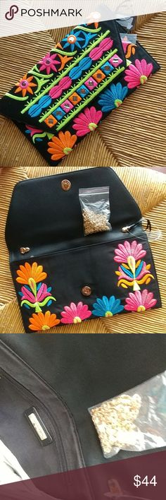 Ethnic embroidery clutch/crossbody black bag So unique,  made in USA, big enough to fit a regular wallet,  phone, makeup  A golden detachable so you can wear it as a crossbody during the day or as a clutch at night Bags Crossbody Bags