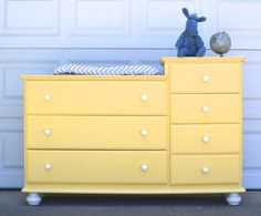 SOLD Custom Painted Changing Table - Painted Nursery Furniture - Custom Yellow or Grey and White Dresser by brasshipposhop on Etsy https://www.etsy.com/listing/238957463/sold-custom-painted-changing-table