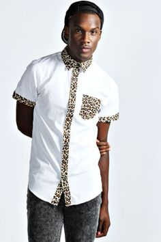 Plain Shirt With Leopard Print Trim