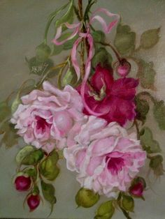 BARNES OIL PAINTING KLEIN PINK ROSES ANTIQUE VINTAGE STYLE SHABBY STILL LIFE BOW