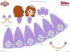 Princesa Sofia em 3D para montar - Convites Digitais Simples
