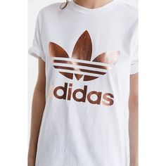 adidas Originals Rose Gold Double Logo Tee ($35) ❤ liked on Polyvore featuring tops, t-shirts, adidas tops, graphic t shirts, logo t shirts, relaxed fit t shirt and graphic print t shirts