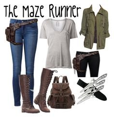 """""""The Maze Runner"""" by always77 ❤ liked on Polyvore featuring Frye, Paige Denim, Yves Saint Laurent, Bar III, awesome and themazerunner"""