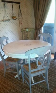 Chalk painted shabby chic table & chairs (table used to be black & chairs were brown!)