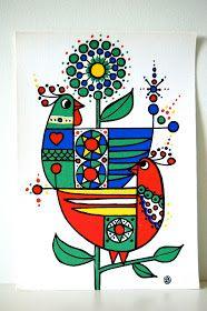 Vintage Swedish textile print / Lars Nyman / Mod art via Etsy Madhubani Art, Scandinavian Folk Art, Indian Folk Art, Madhubani Painting, Indian Art Paintings, Motif Floral, Mural Art, Tribal Art, Fabric Painting