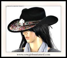 1ad4c365853f COWGIRL GYPSY HAT Crystal   Rhinestone Cross   Paisley Lined Fur Felt Hat Western  Cowboy