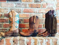 We love these boots!!! Corral Boots- $279-$349  #madisonsbluebrick #downtownhotsprings #corralboots #boots #shoeenvy