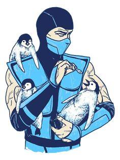 Sub-Zero loves his penguins. Art by Hillary White aka Mortal Kombat Comics, Mortal Kombat Art, Mortal Kombat Wallpapers, Predator Alien, Sub Zero, King Of Fighters, Marvel, Dark Souls, The Villain
