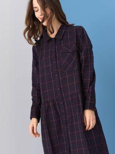 Robe en flanelle de coton tartan — Col chemise — Manches longues montées —  Poignets de ce7318ddcbe