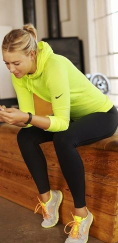 yellow accent in workout outfit