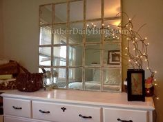 Everyone has seen the Pottery Barn Egan Mirror knock offs, and I myself wanted to try it. I found a simple tutorial over at DollarStore...