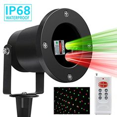 Magicfly Outdoor Laser Lights, Red and Green Landscape Star Projector Decorative Lights, Party Decoration with Wireless remote control - Upgraded Vision, Human Body Sensing & IP68 Waterproof. Great lighting option for the holidays! No more stringing up lights! Just let these lovely red and green lights dance across the yard and house. Very easy to set up and comes with a remote (A23 battery not included)