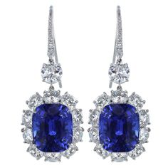 Spectacular Ceylon 23.75ctw Sapphire & 9.16ctw Diamond Drops | From a unique collection of vintage dangle earrings at http://www.1stdibs.com/jewelry/earrings/dangle-earrings/ $250,000
