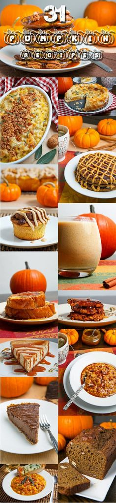 31 Pumpkin Recipes from Closet Cooking ( cooking in a small kitchen) thank you for so many wonderful recipes