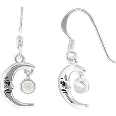Jewel Exclusive Sterling Silver Genuine Moonstone Man in the Moon... ($15) ❤ liked on Polyvore featuring jewelry, earrings, multi, sterling silver jewelry, sterling silver jewellery, moonstone earrings, vintage style earrings and earrings jewelry