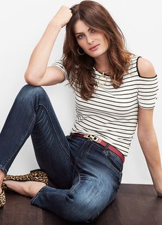 Cutout shoulders add an element of surprise to a simply styled striped tee.