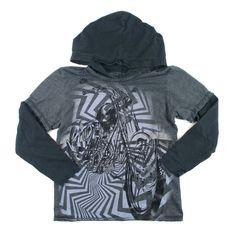 boys t-shirt, motorcycle t-shirt, hooded t-shirt, black and grey t-shirt