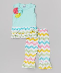 Turquoise & Pastel Zigzag Top & Pants - Infant & Kids #zulily #zulilyfinds