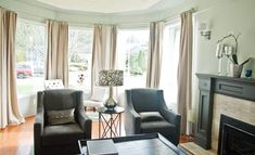 Fancy Large Living Room Images Bay Window Curtain Ideas Living Room Marvelous Ideas Full Size Of Bay Window Treatments, Window Treatments Living Room, Living Room Interior, Home Decor Bedroom, Living Room Decor, Living Room Images, Living Room Designs, Large Window Curtains, Long Curtains