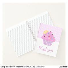 Girly cute sweet cupcake hearts pink modern school notebook