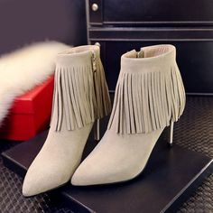 75.00$  Know more - http://aiff4.worlditems.win/all/product.php?id=32802407219 - Women's Sexy High Heel Pointed Toe Fringe Short Booties Genuine Suede Leather 9cm Heel Sexy Ladies Elegant Ankle Boots Shoes Hot