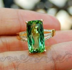 Love all the colors of tourmaline. Look at that green! Engagement Ring 35 Carat Green Tourmaline Ring by stevejewelry Tourmaline Jewelry, Green Tourmaline, Gemstone Jewelry, Jewelry Rings, Fine Jewelry, Jewelry Art, Jewlery, Colored Engagement Rings, Jewelry
