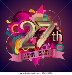 27th anniversary wreath ribbon logo, geometric background - stock vector