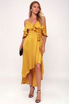 Layla Mustard Yellow Satin Off-the-Shoulder Wrap Dress 9304d0761