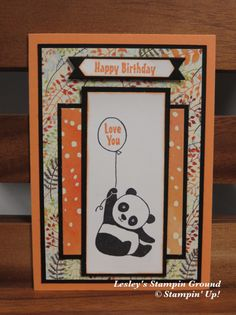 Welcome everyone, How cute are the little pandas in the Party Pandas stamp set ( from Sale-a-bration. Kids Birthday Cards, Handmade Birthday Cards, Greeting Cards Handmade, Bear Card, Panda Party, Get Well Cards, Animal Cards, Scrapbooking, Cards For Friends