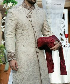 Latest Mens Wedding Sherwani Trends by Top Pakistani Designers Sherwani For Men Wedding, Wedding Dresses Men Indian, Wedding Outfits For Groom, Groom Wedding Dress, Sherwani Groom, Wedding Men, India Wedding, Punjabi Wedding, Gentleman Style