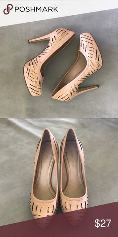 BCBG Nude Platform Pumps I love these shoes! They have a hidden platform. The nude color goes with just about anything and the glitter inserts give these shoes just the right amount of pizzazz! BCBG Shoes Platforms
