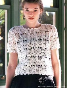 Favolosa maglietta all'uncinetto con punto ananas. fonte:http://www.liveinternet.ru/users/4510646/post358073852/