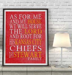 Kansas City Chiefs football inspired Personalized Customized Art Print- \