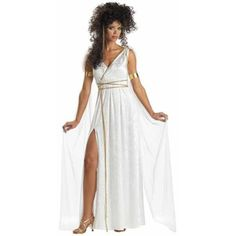 Our Women's Athenian Goddess Costume is the ideal Greek Goddess Costume for women. For a nice Couples Costume idea consider any of our Greek Costumes for men or women. - White dress with attached veil