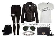 """After Dark: Moto Jackets"" by selinakylex ❤ liked on Polyvore featuring Topshop, Anine Bing, Tee and Cake, ASOS, Jimmy Choo, Ray-Ban, Humble Chic, Boots, jacket and motojackets"