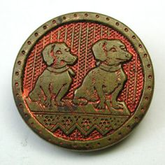 Antique-Brass-Button-Two-Dachshund-Dogs-Sitting-Side-by-Side