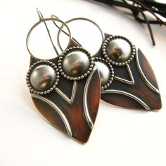 Athena - Mixed Metal - Sterling Silver And Copper Owl Earrings - Wearable Art