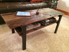 Rustic coffee table, Reclaimed wood coffee table with metal legs, Wood coffee table with magazine shelf, Coffee table by MarkMooreDesign on Etsy https://www.etsy.com/listing/220101174/rustic-coffee-table-reclaimed-wood
