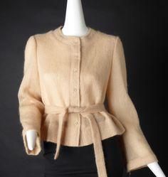 1980s Peach Mohair Cardigan Sweater, Size-6