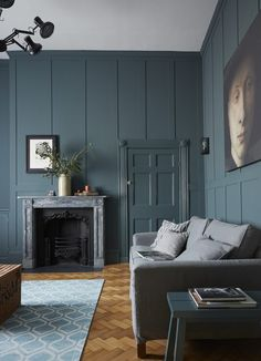 Elegant Contemporary Living Room - New Elegance A Chic and Moody Georgian Town House in Newcastle. Dark Living Rooms, Living Room Kitchen, My Living Room, Living Room Furniture, Modern Living, Contemporary Living Rooms, Small Living, Living Room Decor Grey Walls, Dark Floor Living Room