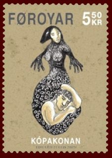 Faroese stamp the seal woman from wiki-ing Selkies