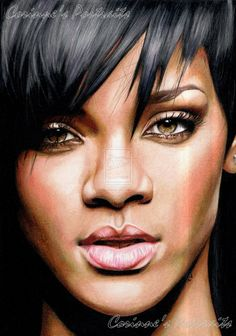 Rihanna by ~Sadness40 on deviantART ~ traditional art done with colored pencils & many hours of arduous labor! AMAZING!