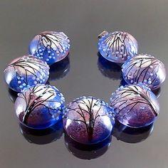 PIKALDA=handmade lampwork 7 glass beads set moon tree=ROMANTIC NIGHT=SRA