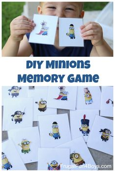 Easy DIY Minions Memory Game - My 3 year old loves playing the memory game, and this is a fun twist!