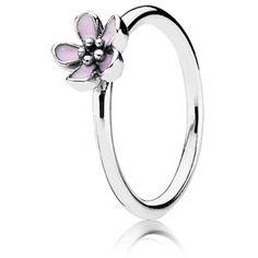 Pandora Cherry Blossom Ring w-Pink Enamel