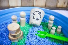 Colored Rice Earth Day Sensory Bin - Views From a Step Stool Sensory Table, Sensory Bins, Sensory Activities, Sensory Play, Activities For Kids, Colored Rice, Sand And Water Table, Spring Theme, Earth Day